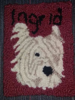 "Rug Hooking Pattern HAILEY DOG on Red Dot Fabric 11.5"" X 12.5"""