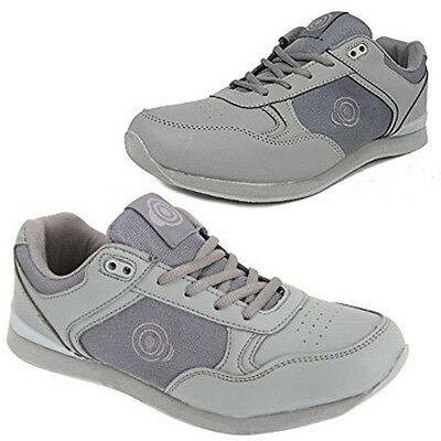 """Dek Womens """"Kitty"""" Bowling Shoes Grey Lawn Bowls Trainers Lace Up"""