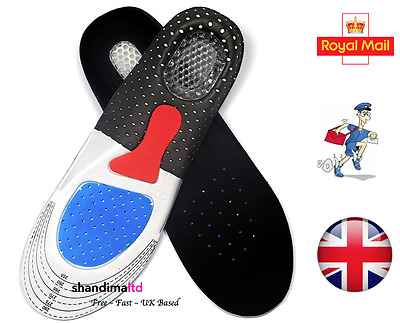 Sport Unisex Orthopaedic Gel Shoe Pads Trainer Foot Feet Comfort Heel Insoles UK