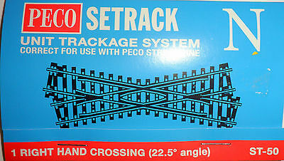 Peco St-50 Right Hand Crossing (22.5 Angle) Set Track  N Gauge New