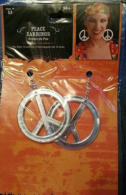 HIPPIE Earrings Peace Signs Party Halloween Costume 60s 70s Trick or Treats Paz