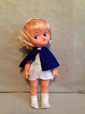 "Vintage Old Doll-plastic-nurse-1970's-Hong Kong-9""-blond-white dress kissy face"
