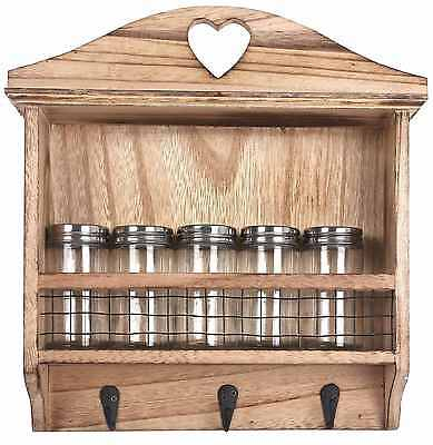 Wood Wooden Kitchen Spice Herb Storage Rack Jar Holder Wall Mounted With 5 Jars