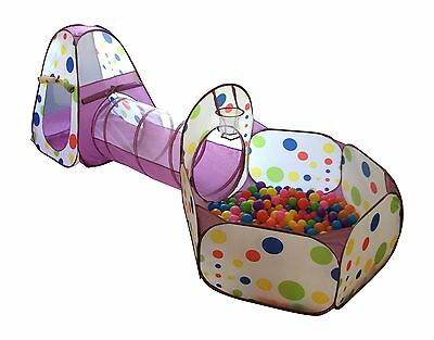 Playz 3-Piece Kids Play Tent Tunnel and Ball Pit with Basketball Hoop Purple