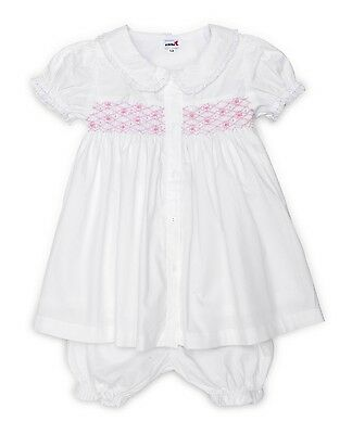 Aurora Royal Girls Traditional Hand-Smocked White Cotton Embroidered Pyjamas Set