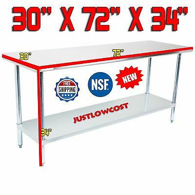 "30"" x 72"" NSF Regency Durable Stainless Steel Commercial Kitchen Work Prep Table"