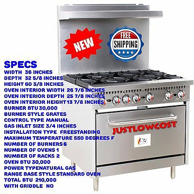 """NEW! 6 Burner 36"""" Commercial Natural Gas or Propane Range with 30"""" Standard Oven"""