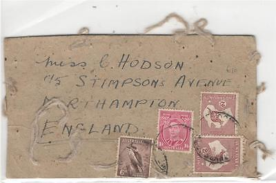 a82 Australia card to England 4 stamps