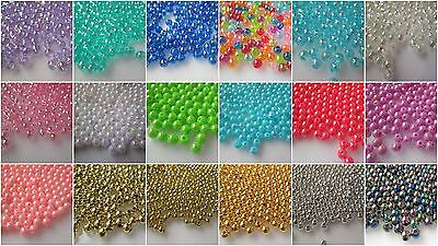 400 4mm Round Acrylic Beads - Choice Colours & Finishes -