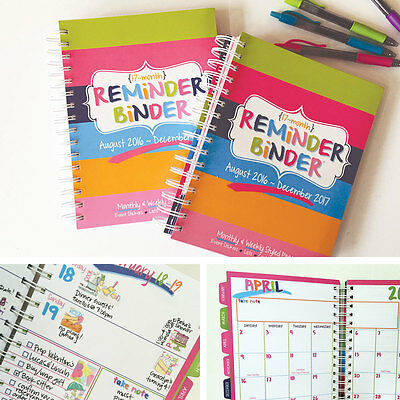 BLOW OUT! TWO 2017 Reminder Binder® Planner Monthly & Weekly Views, Stickers