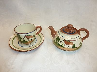 Watcombe Pottery Mottoware - Teapot and Cup & Saucer