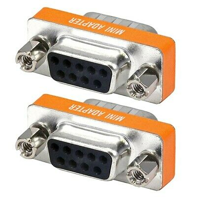 2x DB9 DB 9 RS-232 Male to Female Mini Null Modem Coupler Adapter Converter