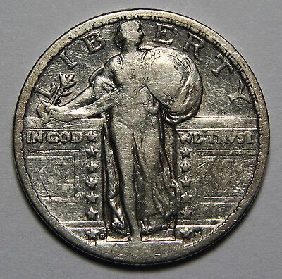 1924D Hard to Read Date STANDING LIBERTY QUARTER 25¢ Coin Lot# A 2063