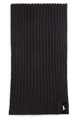 $325 POLO RALPH LAUREN Men's BLACK RIBBED CLASSIC PONY WINTER WARM WOOL SCARF