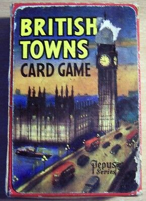 British Towns Vintage Card Game / British Towns Game - 1960's - COMPLTE - RARE