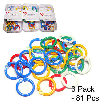 81 Pcs Plastic Color Loose Leaf Binder Hinge Snap Rings - Small Size - 81 Qty
