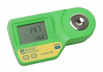 Milwaukee MA871 Digital Sugar Refractometer with Automatic Temp Compensation ...