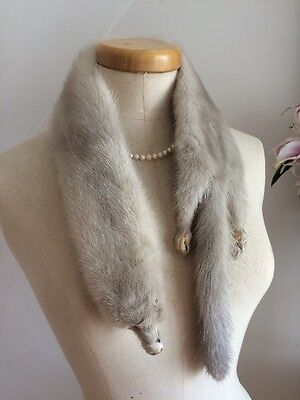 VINTAGE 40s SILVER MINK FUR NECK CUFF COLLAR WWII PINUP RETRO WEDDING RACES