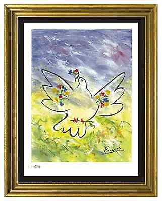 "Pablo Picasso Signed/Hand-Numbrd Ltd Ed ""Dove w Flowers""  Litho Print (unframed)"