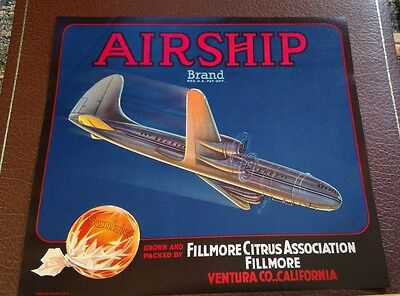 *Original* AIRSHIP Orange Crate Label NOT A COPY Fillmore, California Lithograph