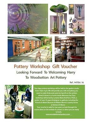 Gift Voucher For Adult Day Pottery Wheel Workshop Wolverhampton Dudley.