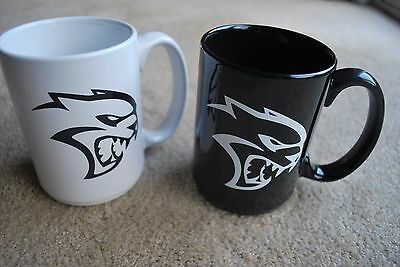 Mopar Hellcat Charger Coffee Cups Lot Of 2 Black And White