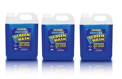 3x 5L Polygard Arctic Screenwash Concentrated Concentrate 15 Litre Screen Wash