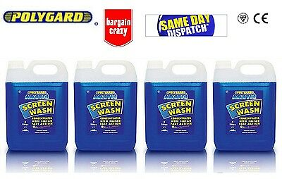 4X New POLYGARD CONCENTRATED ARTIC SCREEN WASH - 5 LTR PERFUMED NON SMEAR -20c