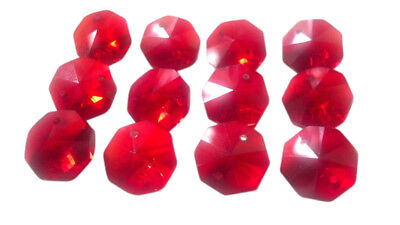 50 Red 14mm Octagon Chandelier Crystals Beads Octagons
