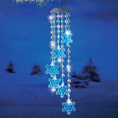 Solar Powered Lighted Crystal Christmas Snowflake Outdoor Yard Wind Chime