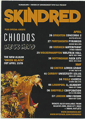 Double sided Tour Flyer for Skindred, Holy Grail, Revoker Tour. Mint Condition
