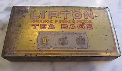 1920's Lipton Orange Pekoe & Pekoe Tea Bag Metal Tin King George V King Alfonso