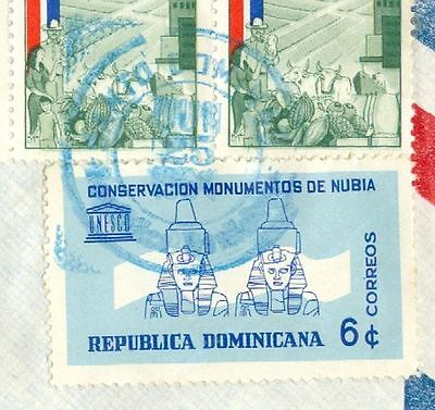 Dominican Republic Topic Egypt NUBIA UNESCO ++ used on cover to USA