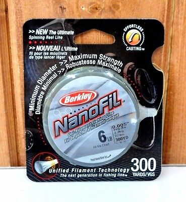 6LB 300YDS Berkley Nanofil Fishing Line ~ Hi-Vis ~ New ~ Free Shipping
