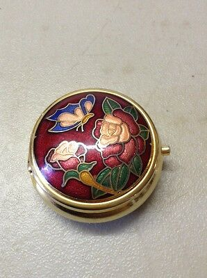 Vintage Stratton?? Gold Tone Enamel Butterfly Small Pill Box