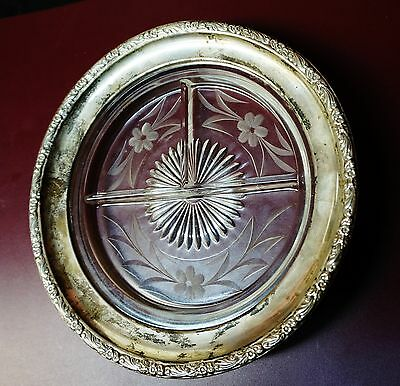 """Vintage Cut Crystal Glass Sterling Silver 3 section Dish Relish Tray 8"""" in."""