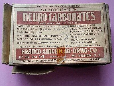 VINTAGE BOX of NEURO-CARBONATES STERICHARTS (PHENOBARBITAL)  NERVOUS INDIGESTION