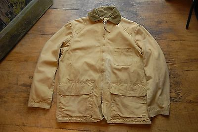 Vtg American Field Hunting Coat Brown Duck Tin Cloth Canvas Chore Jacket S