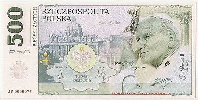 POLAND 500 ZLOTYCH  Project collector note POPE JOHN PAUL II / UNC