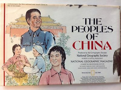 July 1980 National Geographic map~Peoples of China~People's Republic of China