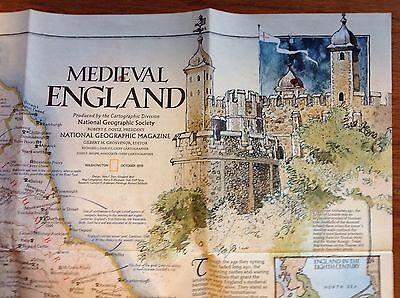 October 1979 National Geographic map~Medieval England~British Isles~poster