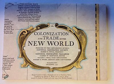 December 1977 National Geographic map~Colonization & trade in the New World
