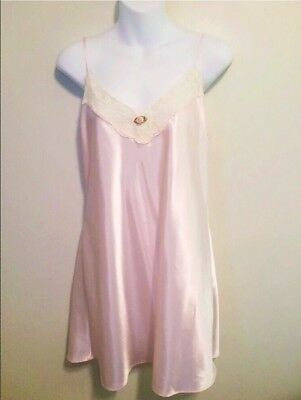 Vintage California Dynasty Lingerie Nightgown Glam Light Pink Satin And Lace Med