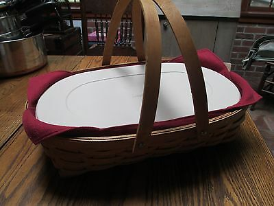 Longaberger Small Oval Gathering Basket Lidded Protector  Paprika Liner