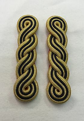 Gold & Black 3 Ply Shoulder Cords, Triple Twist, Army, Military, Officers