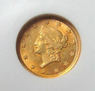 1853 O Gold United States Liberty Head $ 1 Dollar Coin Ngc Mint State 62