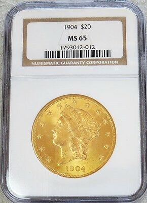 1904 Gold Us $ 20 Liberty Head Double Eagle Coin Ngc Mint State 65