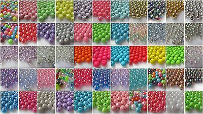 50 10mm Round Acrylic Beads-Choice Colours & Finishes -