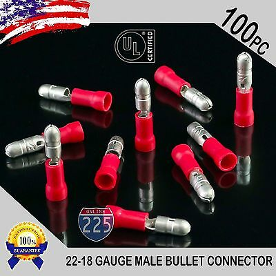 """100 Pack 22-18 Gauge Red Male Bullet Connectors Fully Insulated Vinyl .156"""" UL"""