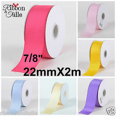 """7/8"""" 22mm X 2m Double Sided Satin Ribbon Colours Crafts Hair Bows Weddings Gifts"""